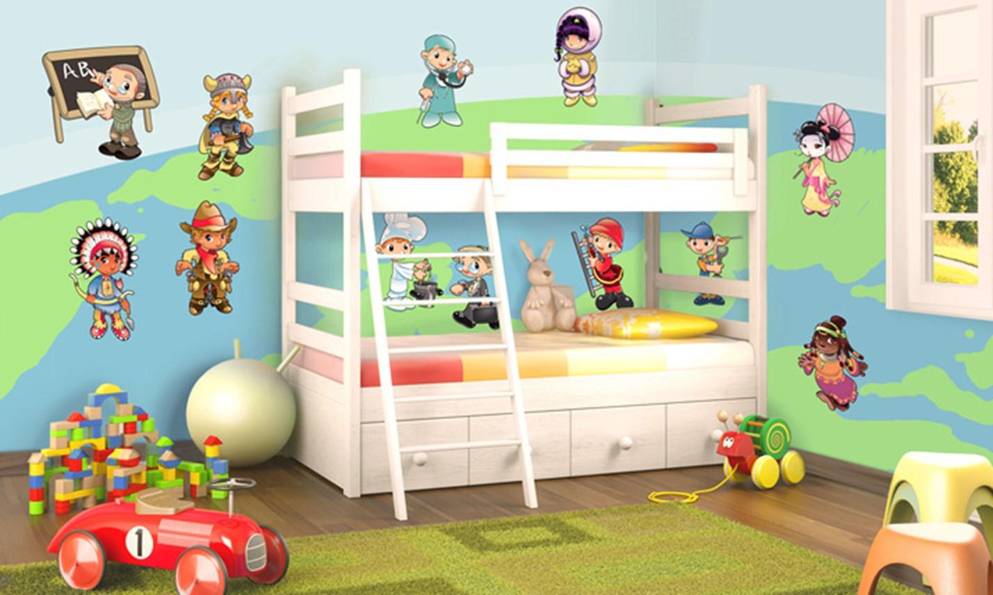 Stickers murali bambini cameretta bambini del mondo leostickers - Adesivi murali per camerette ...